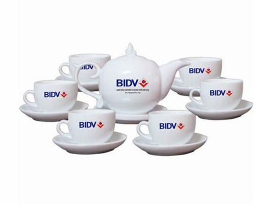 Bộ Trà Bát Tràng Chóp Lửa Giá In Logo BIDV