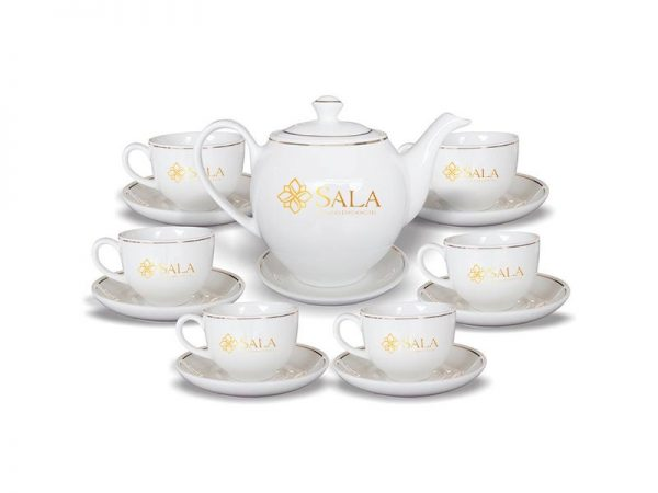 Bộ Trà Bát Tràng Dáng Minh Long Giá In Logo Vàng Kim Sala