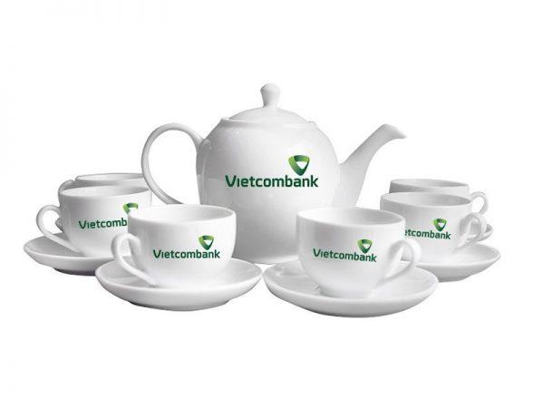 Bộ Trà Bát Tràng Dáng Minh Long Giá In Logo VietcomBank