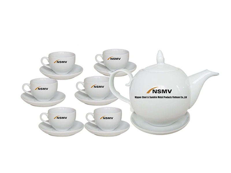Bộ Trà Bát Tràng Chóp Lửa Giá In Logo NSVM