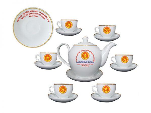 Bộ Trà Bát Tràng Dáng Minh Long Giá In Logo