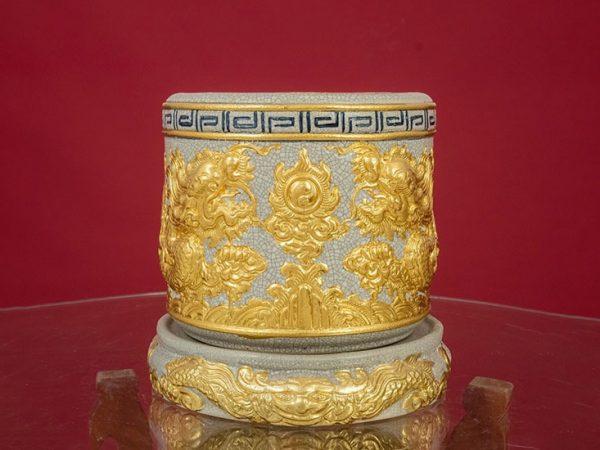 Bát Hương Bát Tràng Men Rạn Rồng Vàng