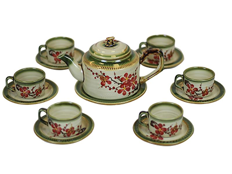 Bộ ấm trà Bát Tràng ấm tích chữ thập