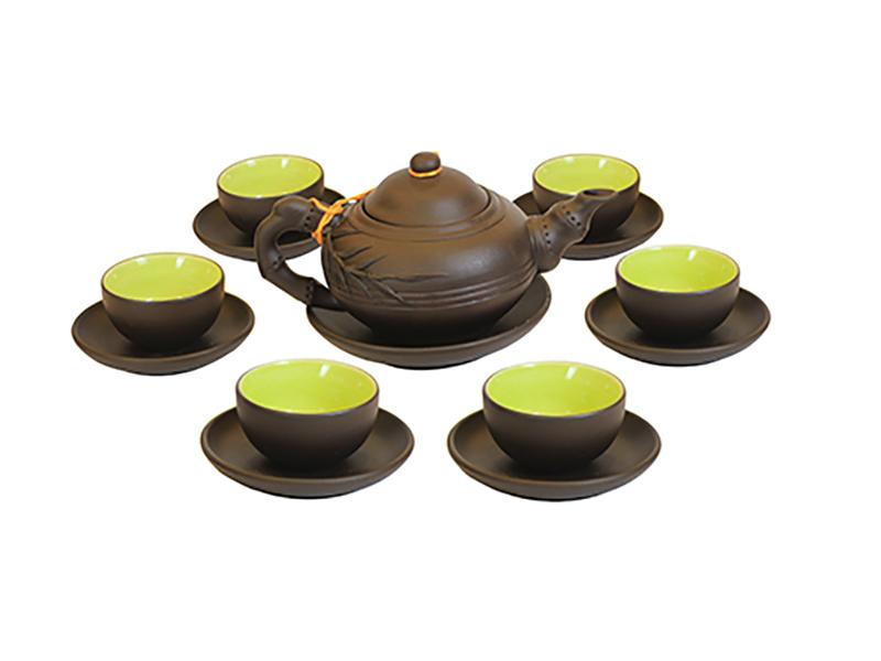 Bộ ấm trà tử sa Bát Tràng đắp tách lót