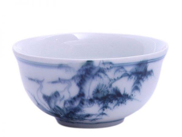 Bát Đựng Mắm Bát Tràng Vẽ Tùng Hạc - Men Chàm - Cao 5cm
